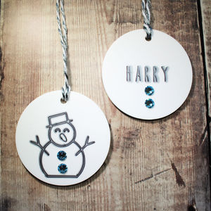 Personalised Snowman Bauble Duo With Swarovski - christmas sale