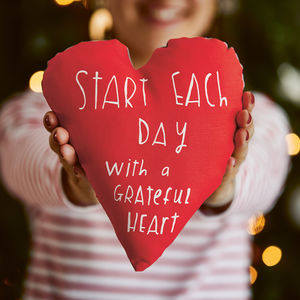 Grateful Heart Cushion - stocking fillers