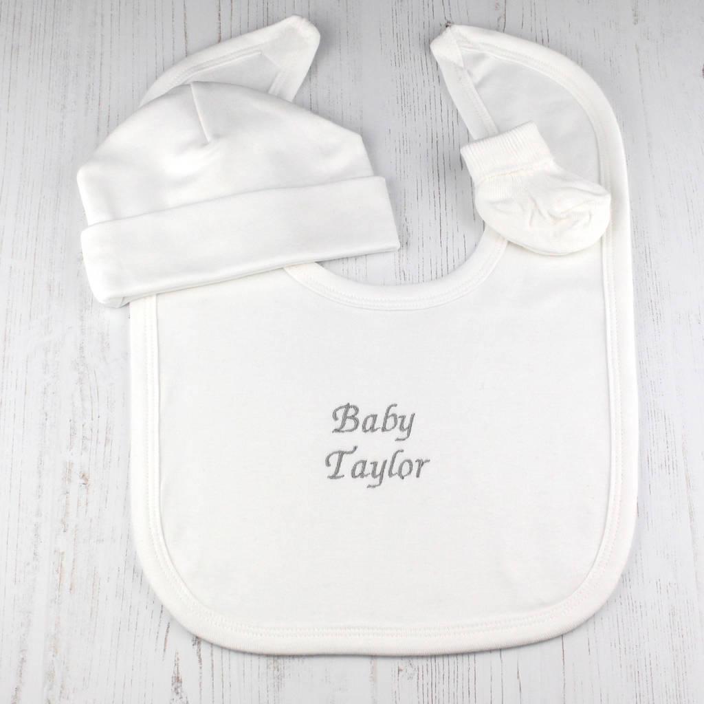 Personalised Baby Shower Bib Gift Set