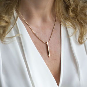 Gold Geo Bar Pendant Necklace - summer sale