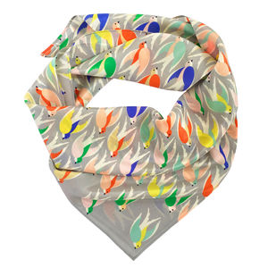 Sorbet Coloured Bird Print Silk Scarf - scarves