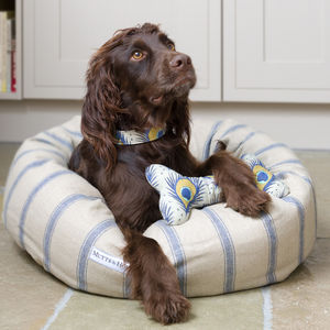 Printed Linen Squeaky Bone Dog Toys