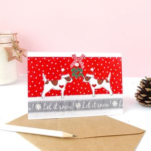 Cute Dogs Under Mistletoe Christmas Card