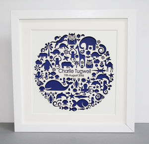 Personalised Paper Cut Animal Circle Picture