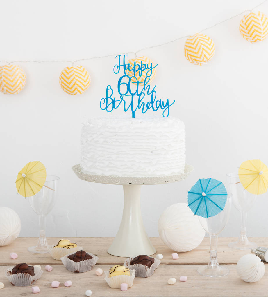 Happy 60th Birthday Party Cake Topper Decoration