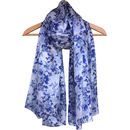 Large 'Delft Blue' Pure Silk Scarf