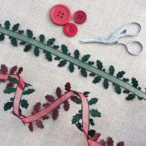 Chritmas Holly Ribbon Trim - ribbon & wrap