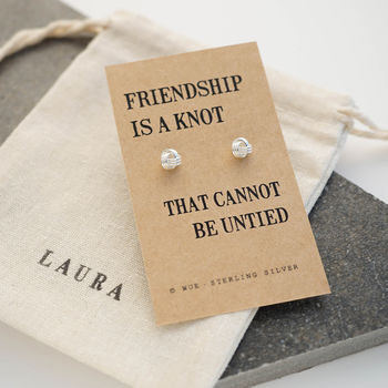Friendship Knot Silver Earrings with Personalised Gift Bag