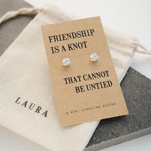 Friendship Knot Silver Earrings - personalised jewellery