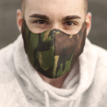 Mens Fitted Fabric Face Mask With Filter Pocket
