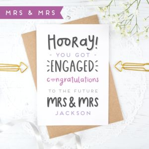 Personalised Mrs And Mrs Engagement Card