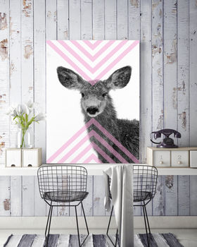 Geo Deer Pink, Canvas Art