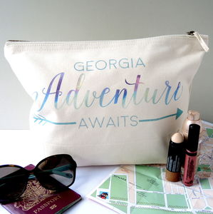 Personalised Adventure Awaits Travel Wash Bag