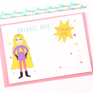 Superhero Girl Personalised Thank You Note Cards