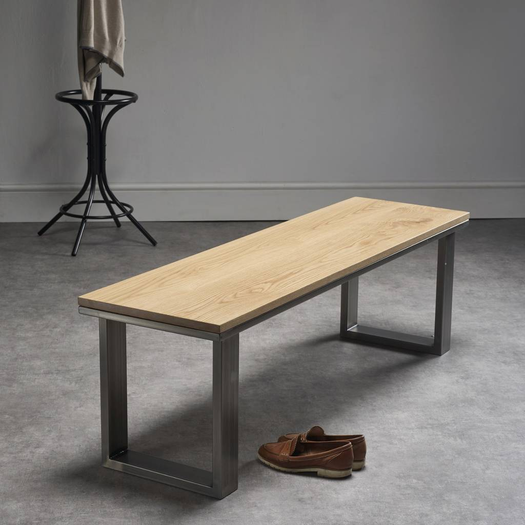 Solid Oak Bench With Steel Legs