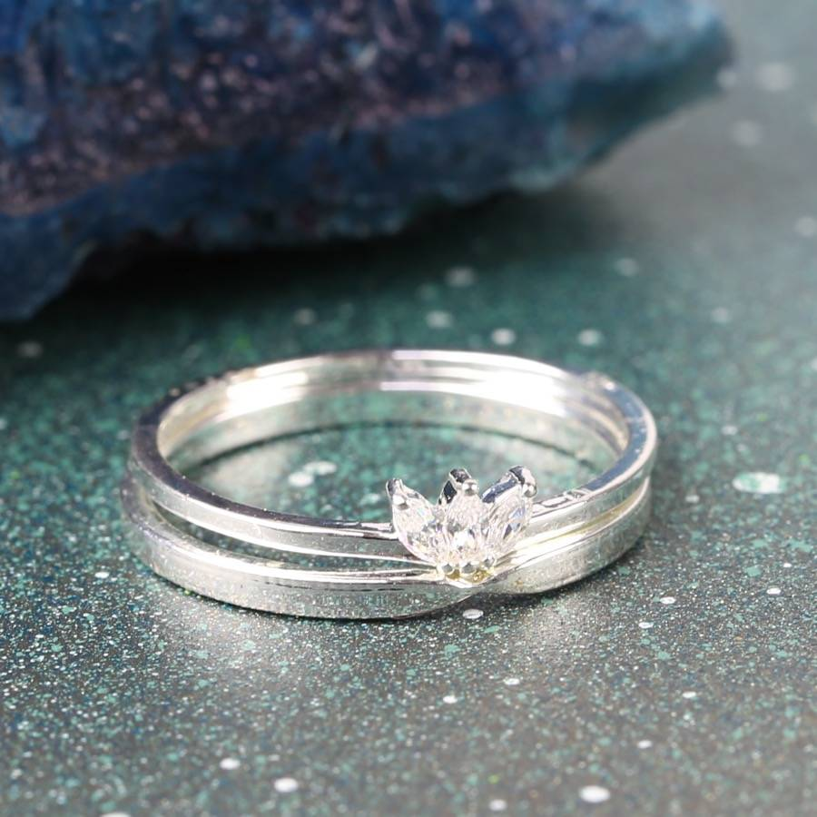 Set Of Two Delicate Lotus Flower Rings By Lisa Angel