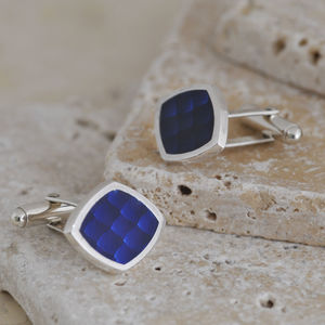 Blue Enamel Silver Cufflinks - men's accessories