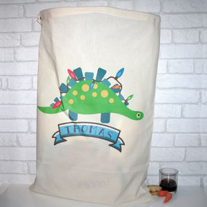 Personalised Cotton Christmas Dinosaur Sack - view all decorations