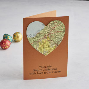 Personalised Copper Map Location Heart Christmas Card