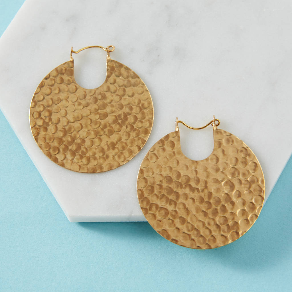 Gold Tribal Hoop Earrings