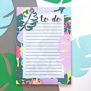 Monstera Print To Do List Notepad - writing