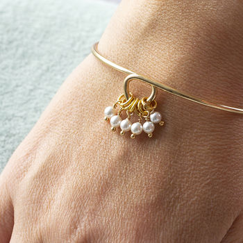 Special Birthday Pearl Charm Bangle