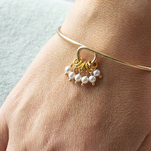 Special Birthday Pearl Charm Bangle - 60th birthday gifts