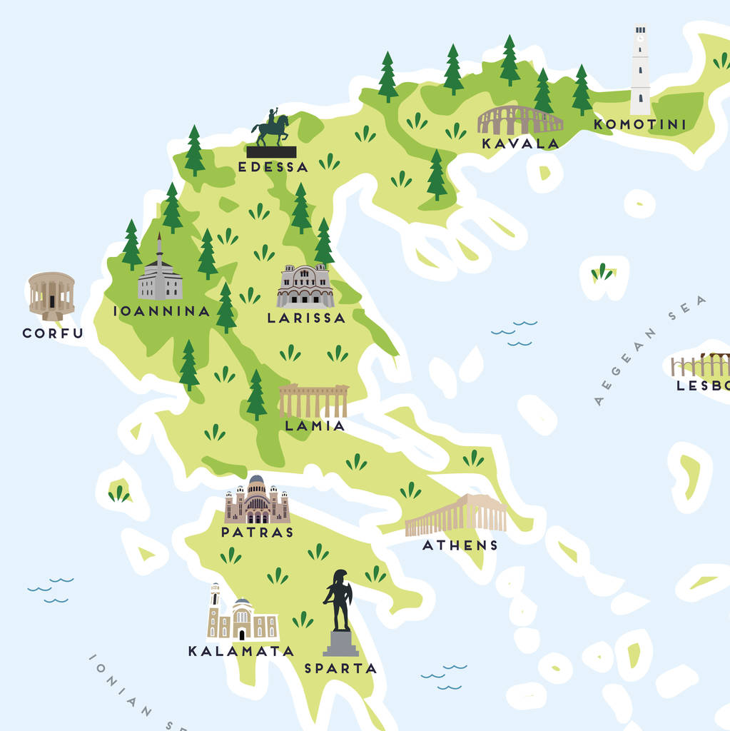 Ioannina Greece Map.Map Of Greece Print By Pepper Pot Studios Notonthehighstreet Com