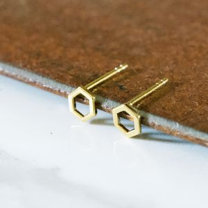 Modern Hexagon 18ct Gold Earring Studs - new in jewellery