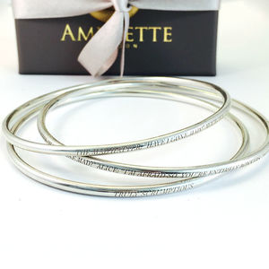 Engraved Silver Bangle - jewellery sale