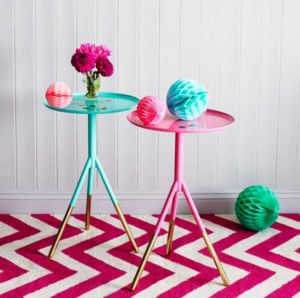 Metal Painted Tripod Tables With Brass Feet - side tables