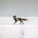 Miniature Bronze Fox Statue