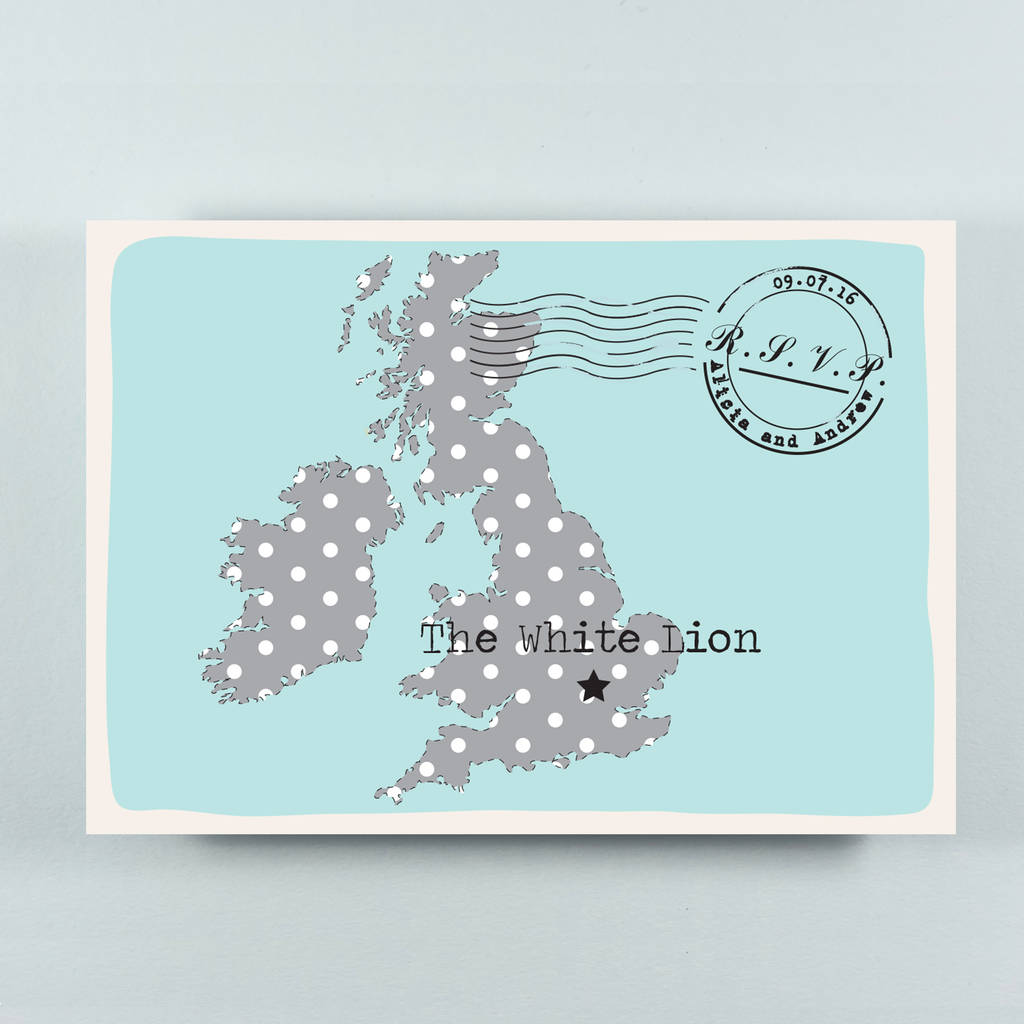 Bespoke Wedding Invitation: Bespoke Illustrated Map Wedding Invitation By Paper And