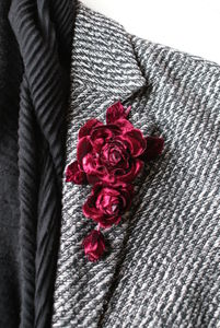 Claret Flower Corsage - pins & brooches