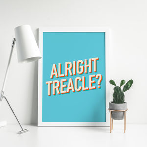 Alright Treacle Retro Style Typography Poster