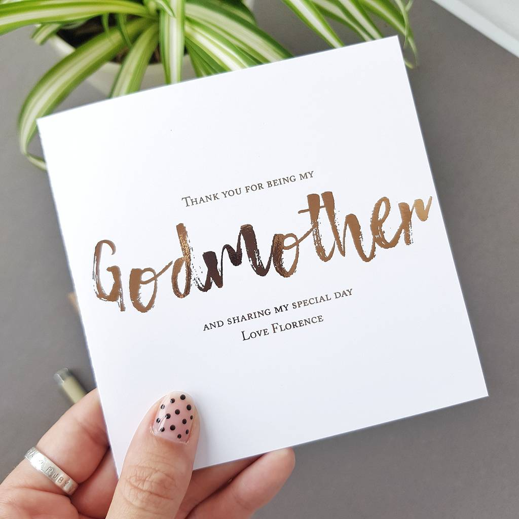 Godmother Christening Thank You Card Be My Godmother By Rich