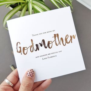 Godmother Christening Thank You Card | Be My Godmother - christening cards