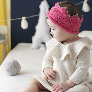 Knitted Crown Baby Hat - pretend play & dressing up