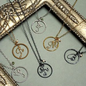 Initial Italic Alphabet Hooped Personalised Necklace