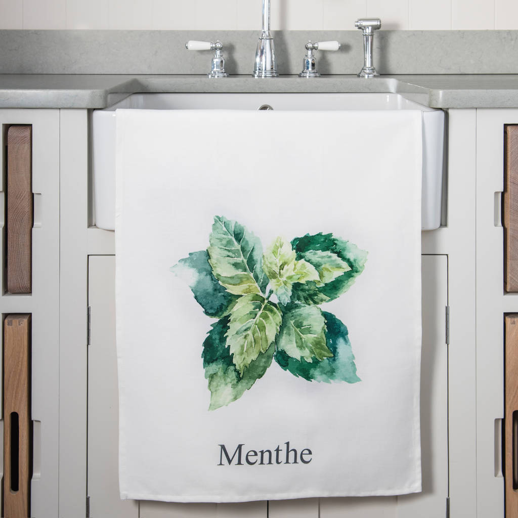 Set Of Five French Herb Tea Towels