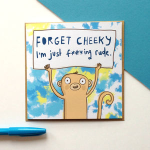 'Cheeky Monkey' Greeting Card - winter sale