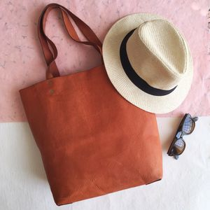 Leather Tote Bag Naturally Tanned. Also In Black