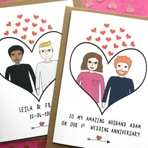 Personalised Anniversary Wedding Couple Card - engagement cards