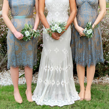 Bespoke Lace Bridesmaid Dresses In Blue Pearl