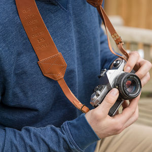 Personalised Retro Leather Camera Strap - for him