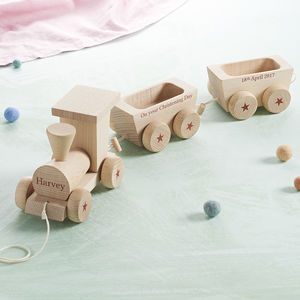 Personalised Wooden Train Set - christening gifts