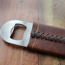 Personalised Bottle Opener With Leather Jacket