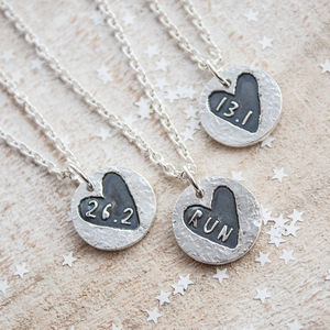 Sweet Heart Round Silver Runners Necklace