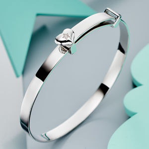 'Gisele' Diamond Heart Christening Bangle - bracelets
