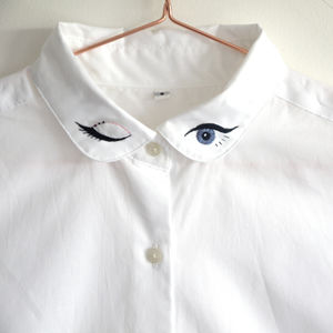 Embroidered Shirt With Winking Eye Collar - brand new sellers